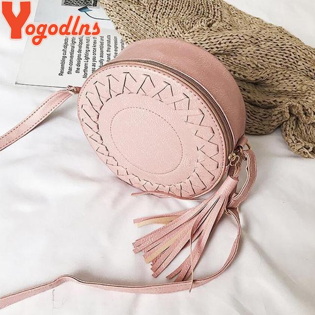 Yogodlns 2020 Women shoulder bag round Weave bag