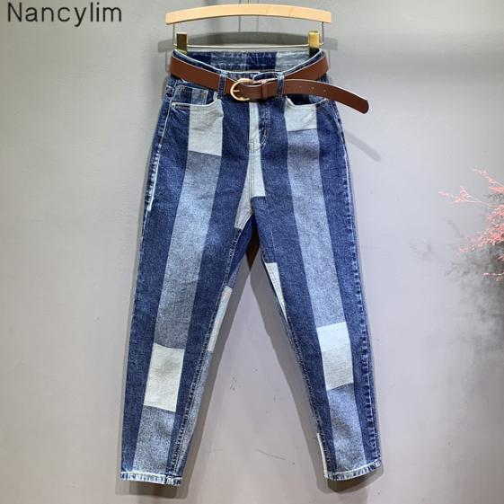 European Style Hit Color Jeans Women's Autumn New Loose Pants Women's Jeans Pants Streetwear Jeans Mujer 2020