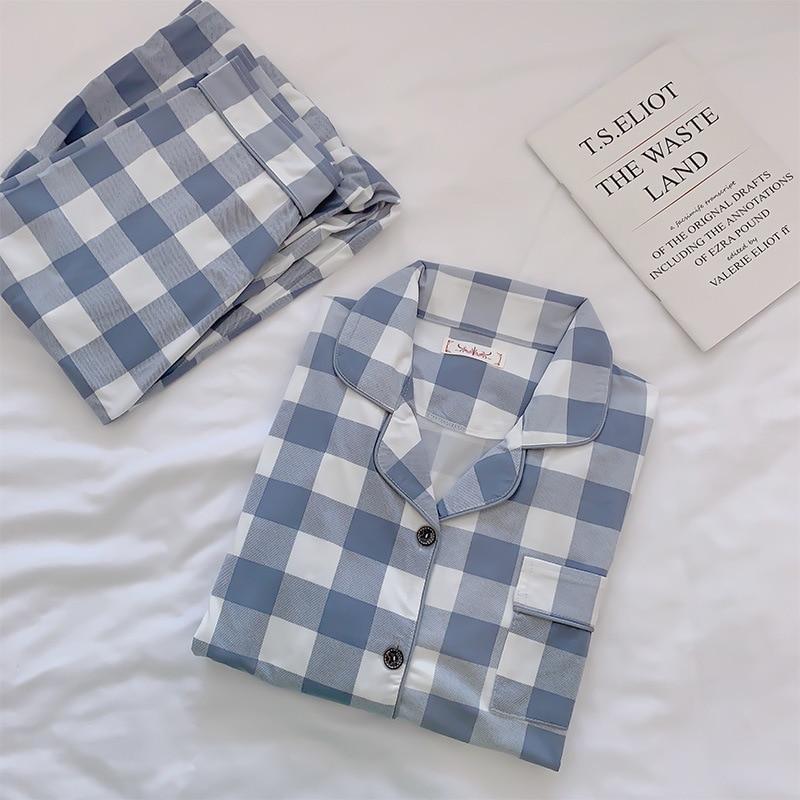 2019 Women Cotton Pajamas Sets with Pants Long Sleeve Turn-down Collar with Pocket Pyjama Cute Cartoon Button Top+Pants Pijama 34