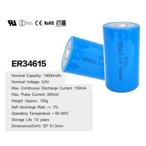 Image 4 - 4Pcs PKCELL 19ah ER34615 34615 3,6 V Größe 34,2X61,5mm 19000MAH Nicht wiederaufladbare D LiSOCl2 batterien lithium batteriesfor 10 jahre