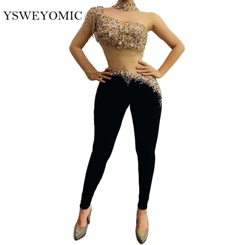Разноцветный комбинезон с прозрачными рукавами и стразами; Черные бархатные леггинсы; Одежда для латиноамериканских танцев; Одежда для пев