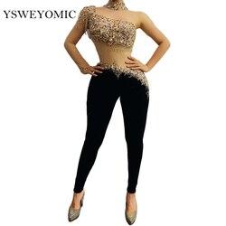 Multi-color Rhinestones Fringe Transparent Sleeve Jumpsuit Black Velvet Leggings Bachata Latin Dance Outfit Bar Singer Outfit