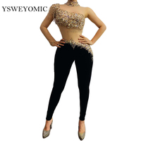 Multi color Rhinestones Fringe Transparent Sleeve Jumpsuit Black Velvet Leggings Bachata Latin Dance Outfit Bar Singer Outfit