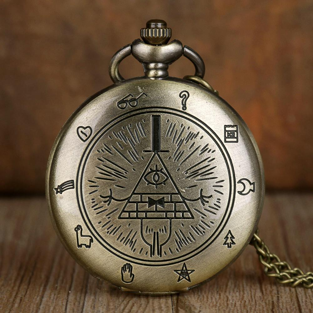 New Fashion Vintage Pocket Watches Bill Cipher Gravity Falls Quartz Pocket Watches Necklace Mens Womens Kid Watches Chain Gift