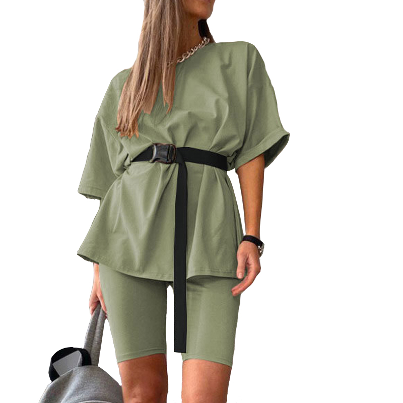 Casual solid new women's two piece with belt 2020 Summer Fashion Casual Home Solid Color Loose T shirt Shorts Female Playsuits