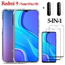 5-in-1 Glass , Case for Xiaomi Redmi 9/Note 9 Pro /9S /Redmi9 Phone Cover Silicone Redmi 9 Global Case Redmi 9 Pro Xiaomi coque