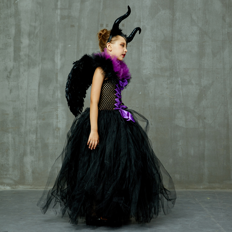 Maleficent Black Gown Tutu Dress with Deluxe Horns and Wings Girls Villain Fancy Dress Kids Halloween Cosplay Witch Costume (26)