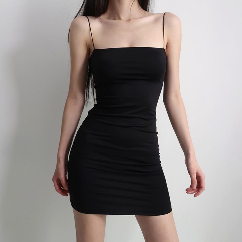 Black Sexy Dress Spaghetti Strap платье Female High Waist Sheath Club Dresses For Women Short Summer Mini Sleeveless Vestidos 3