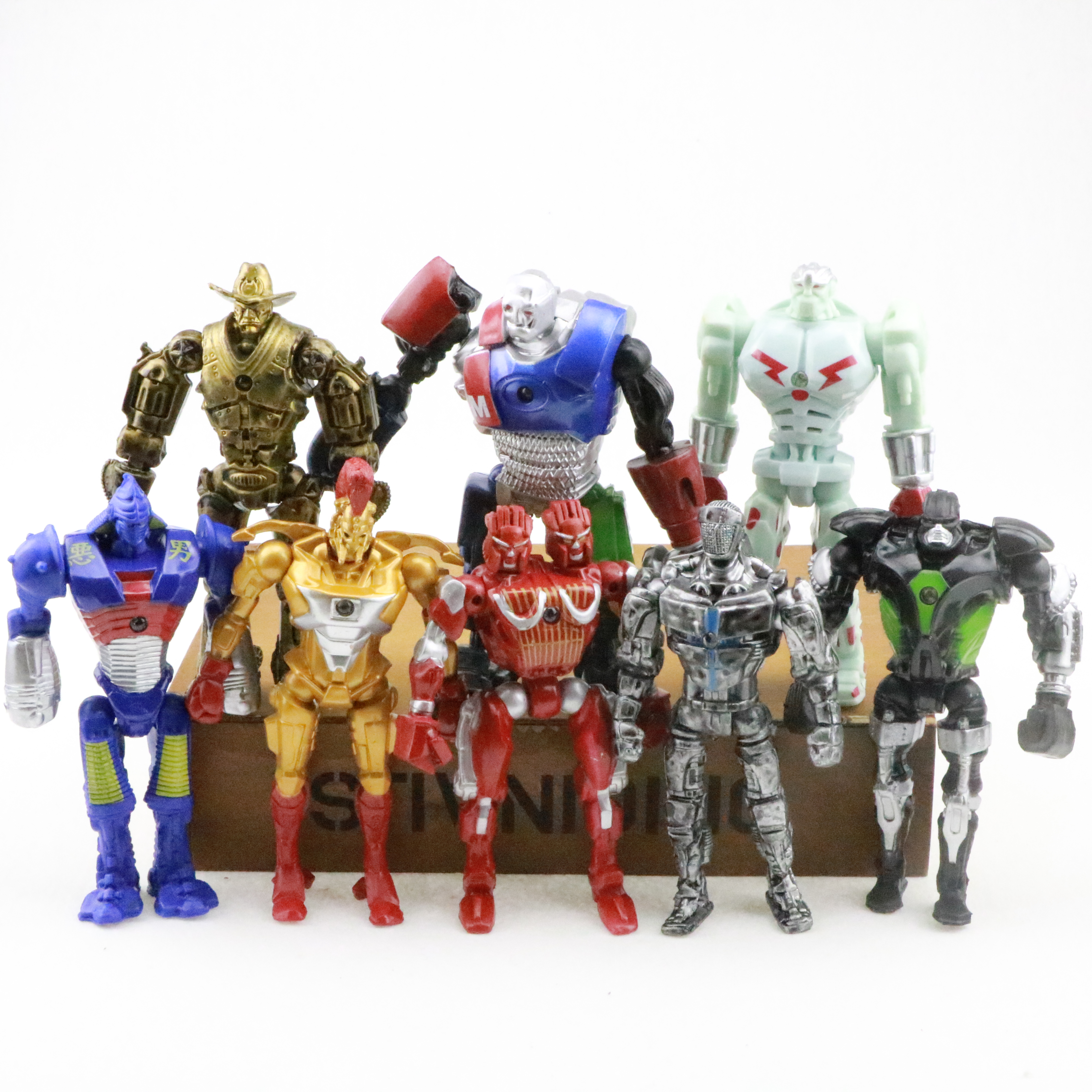 8pcs/set Movie Real Steel Zeus Atom Midas Adam Duracell Raider Action Figure PVC Collectible Model Toys Sets Kid Christmas Gifts