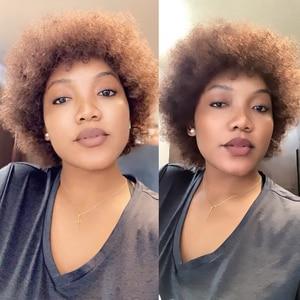 Image 2 - Msiwigs Vrouwen Korte Kinkly Krullend Afro Pruiken Donkerbruin Synthetisch Haar Pruik Amerika Afrikaanse Cosplay Pruiken