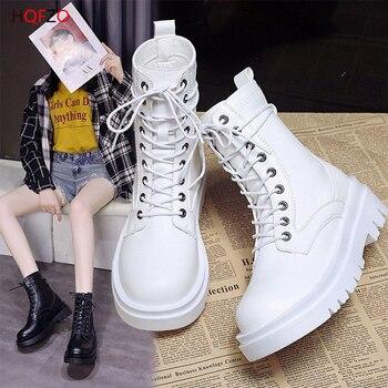 HOFZO botines para Mujer, botines De piel sintética con plataforma, botines con cordones, zapatos De otoño informales De alta calidad, zapatos De diseñador para Mujer