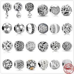 925 prata esterlina oco folhas esféricas redondas gemas pingente diy contas finas caber pandora original charme pulseira feminino jóias