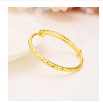 Pulsera de oro fino de 14 k G/F, brazalete sólido amarillo, regalo de joyería, Circonia cúbica, 1 o 4 piezas de elasticidad, apertura de empuje y tracción al por mayor