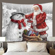 Рождественский гобелен с изображением снежного Санта-Клауса, Настенный декор, Рождественская стена, настенный гобелен с изображением Санта-Клауса, снеговика