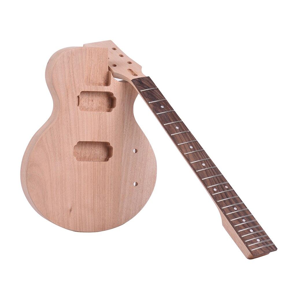 Enfants LP Style Inachevé bricolage Kit De Guitare Électrique Corps En Acajou et Cou Touche En Palissandre Double Double bobinage