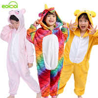 children animal unicorn panda pig pajamas for kids boys girls unicornio stitch sleepwear winter hooded flannel pyjamas onesies