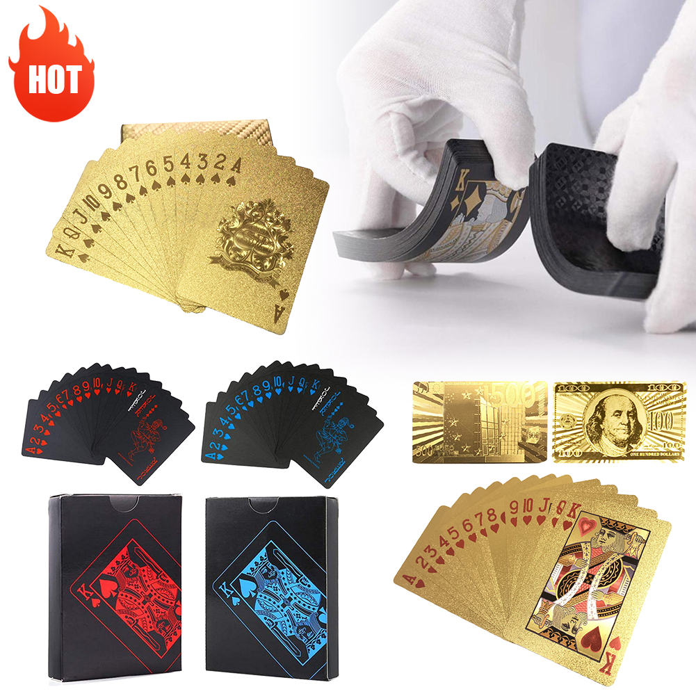 Golden Playing Cards Set Waterproof Plastic PVC Black Color Poker Cards Sets Magic Tricks Poker Creative Box-packed 54sheets/set