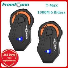 2 Sets T MAX E Motorrad Helm Intercom 6 Fahrer 1000M Gruppe Kopfhörer Headset Wireless BT Sprech Bluetooth 4,1 FM radio