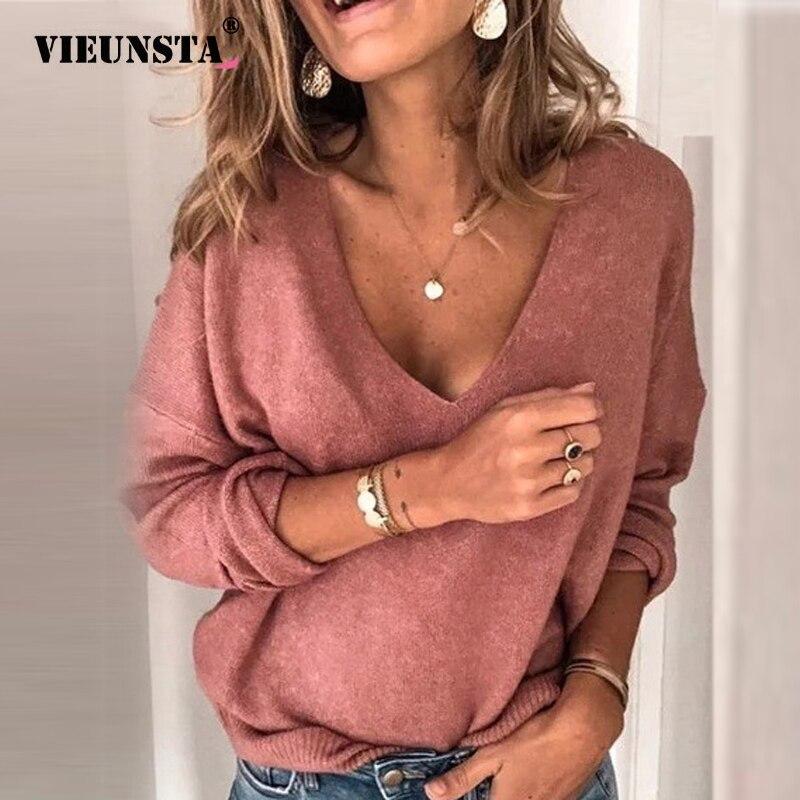 Женская Свободная блузка с глубоким v образным вырезом 5XL, однотонная Базовая Блузка с длинным рукавом размера плюс на осень, 2019 Блузки и рубашки      АлиЭкспресс