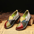 Novo estilo étnico tamanho grande sapatos femininos de couro cor correspondência retro salto plano sola macia sapatos mãe de meia-idade