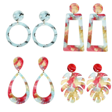 Miss JQ 2019 Acrylic Dangle Earrings Marble Irregular Pattern For Women Red Leaves Geometric  Jewelry Harajuku Earring
