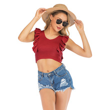 Ruffled Crop Top Slim Women Tank Vest Thin Solid Color Fashion Wild Red Black Camisole