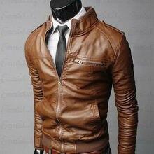 Новая модная Осенняя мужская кожаная куртка плюс размер 3XL черные коричневые мужские пальто с воротником-стойкой кожаные байкерские куртки