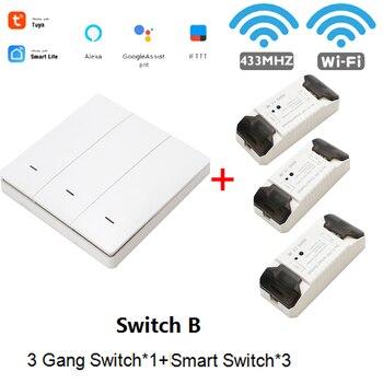WiFi RF DIY Wifi Smart Switch Tuya Smart Breaker Wireless Switch Controller Light RF 433Mhz Wall DIY Relay Timer 9