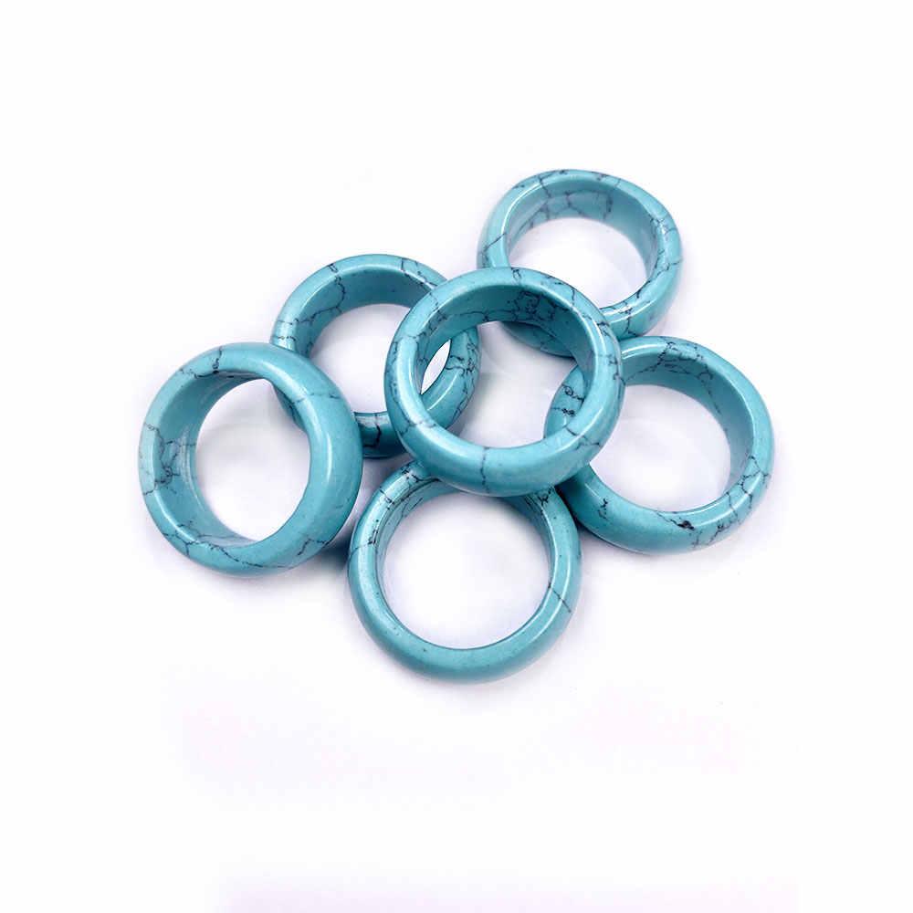 2020 anelli di pietra naturale dei monili di fascino di una varietà di pietre due tipi di modelli alla moda del regalo per le donne o ragazza 8 millimetri di larghezza