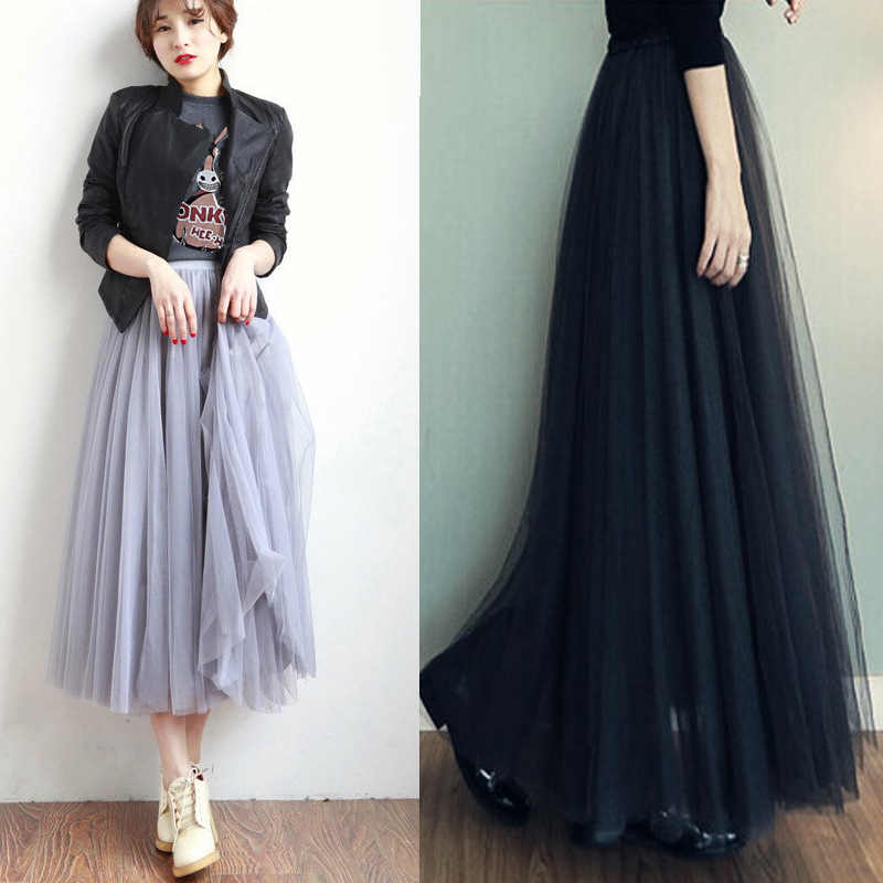 2020 Fashion Mesh Skirts Tutu Ball Gown Long Princess Skirt Big Hemline Harajuku WOMEN