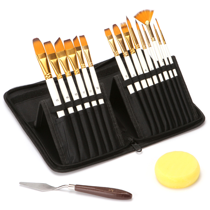17PCS Nylon Hair Artist Paint Brushes Palette Knife Sponge Set With Storage Case Watercolors Acrylic Oil Painting Art Supplies