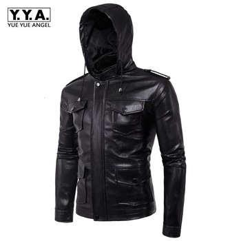 Pu Leather Jacket Men Multi Pockets Epaulet Hooded Jackets Large Size M-5XL Casaco Masculino Motor Biker Homme Outwear Coats