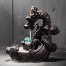 1pc dragão cerâmica fumaça cachoeira queimador de incenso backflow queimador incenso titular acessórios decoração para casa quente