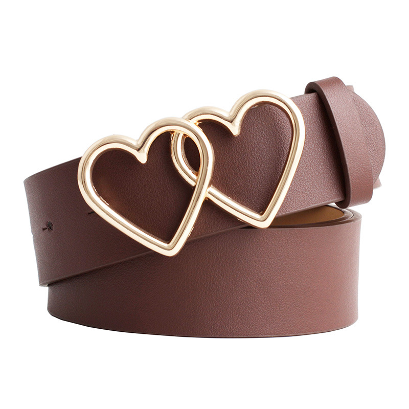 Fashion Luxury Belts For Women Mental Love Leather High Quality Belt Alloy Double Ring Circle Heart-shaped Thin Belt Adjustable