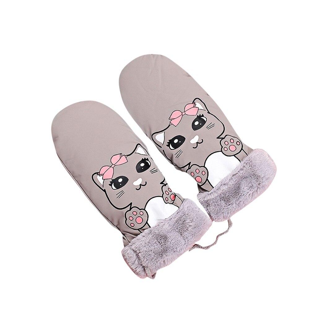 Зимние перчатки для катания на лыжах с мультяшным рисунком, ветрозащитные водонепроницаемые теплые варежки с кошачьим воротником, теплые перчатки