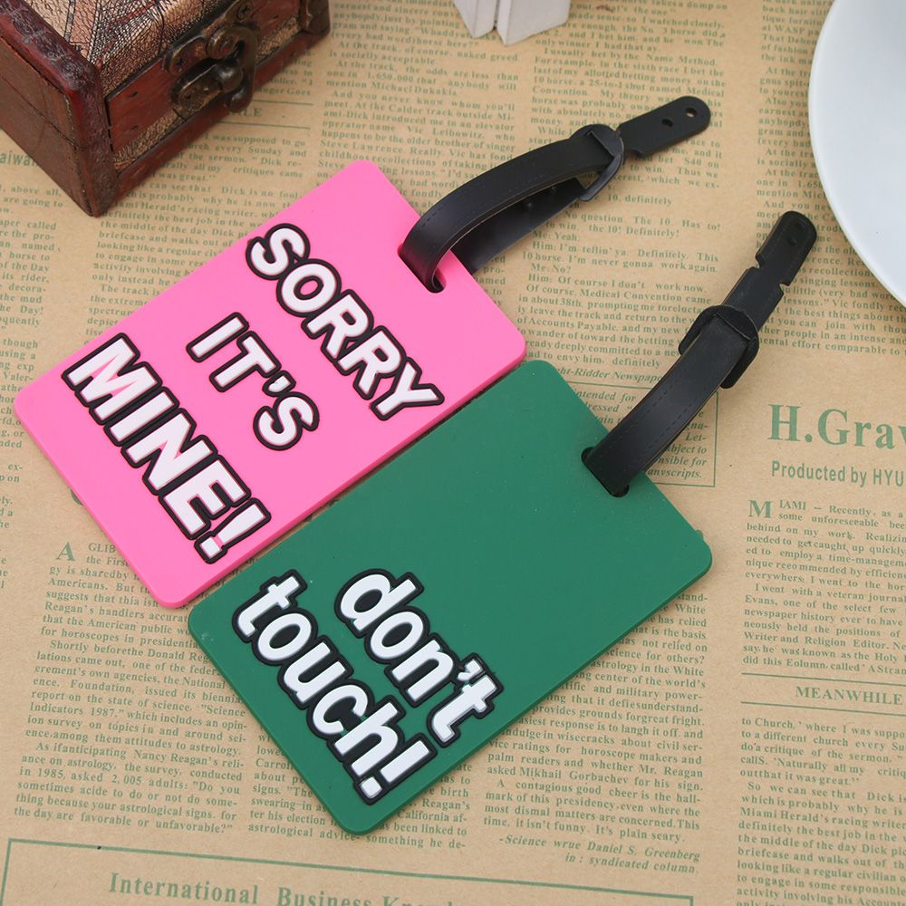 New Luggage Tags For Travel Candy Color English Letter Luggage Label Strap Suitcase Name ID Address Tags Luggage Tags