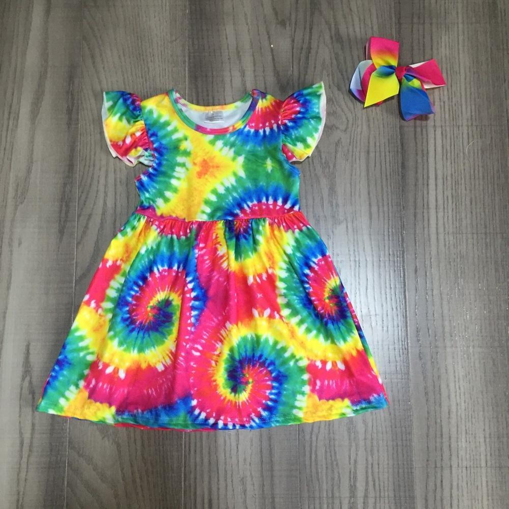 Baby Girls Summer Dress Girls Tie Dye Dress Girls Kids Classic Dress With Bow