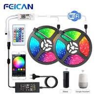 Wifi led tira luz rgb impermeável controle inteligente ble led rgb tira backlight 5 m 10 m 15 m conjunto remoto 12 v fonte de alimentação rgb fita
