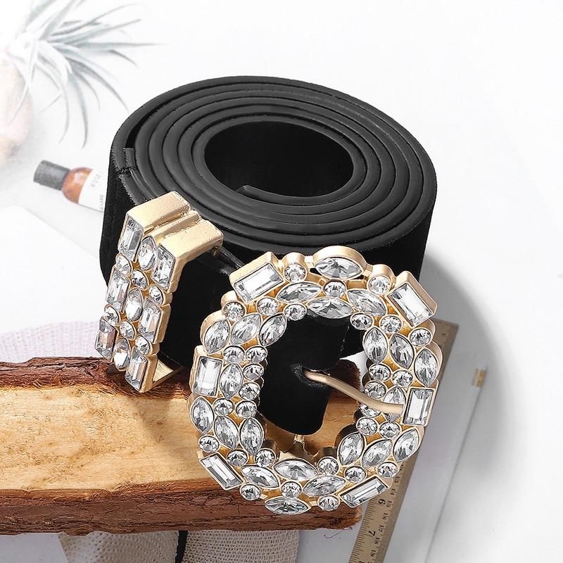 Cinturon Mujer Luxury Designer Big Strass Belts For Women Black Leather Waist Jewelry Gold Chain Belt Rhinestone Diamond Fashion