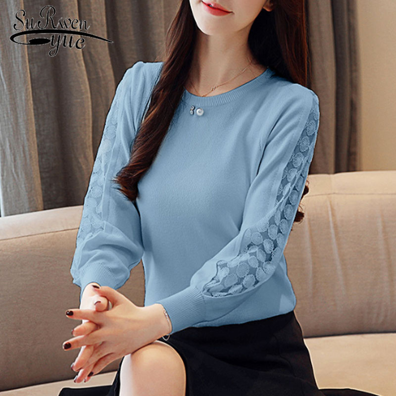 Casual Lace Solid Women Clothing Elegant 2019 Autumn Fashion Women Blouses Long Sleeve O-neck Women Tops Blusas Mujer 6234 50