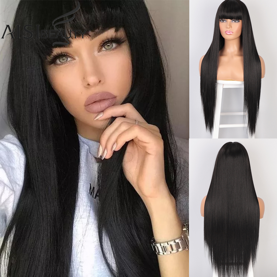 AISIBEAUTY Wigs For Women Long Straight Wig With Bangs Synthetic Heat Resistant Hair Black/Brown Wigs For Women's Natural Hair