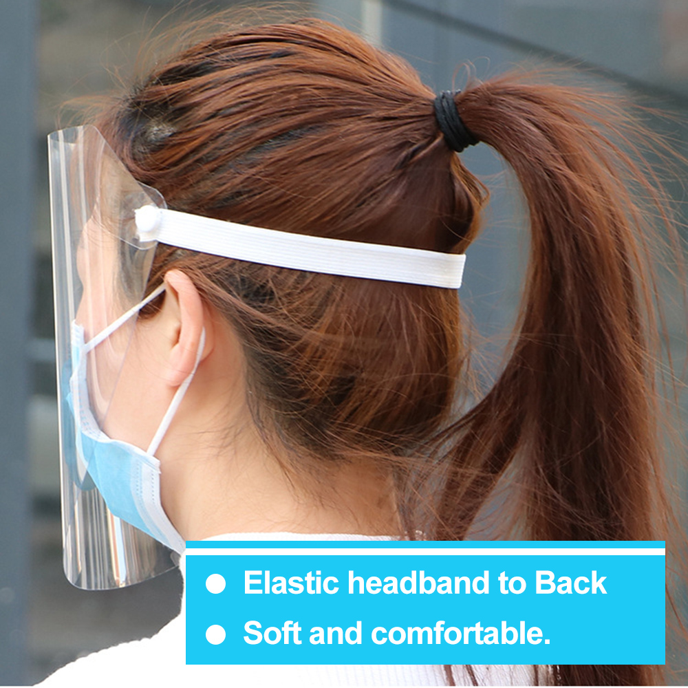 20pcs Anti-Splash Clear Face Cover with clear Vision and Elastic Headband for Full Face Protection 20