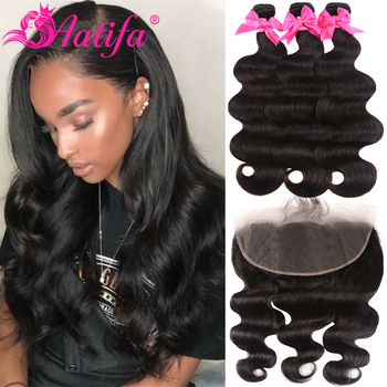 Transparent Lace Frontal With Bundles Brazilian Body Wave Bundles With Frontal 13x4/13x6 Aatifa 100% Human Hair With Closure