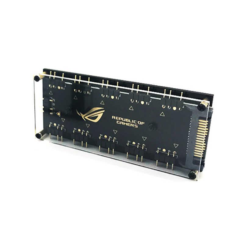 ASUS オーラ同期 5V 3-ピン RGB 10 ハブスプリッタ Sata 電源 3pin ARGB アダプタ延長ケーブルギガバイト MSI アスロック RGB LED w/ケース