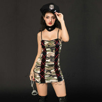 Sex uniform passion uniform seductive sexy role play dress battlefield doll camouflage lady police uniform