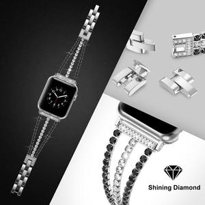 Image 4 - Elmas kayış Apple için saat kayışı 40mm 44mm Bling takı paslanmaz çelik Band kadınlar için iWatch serisi 5 4 3 2 1 38mm 42mm