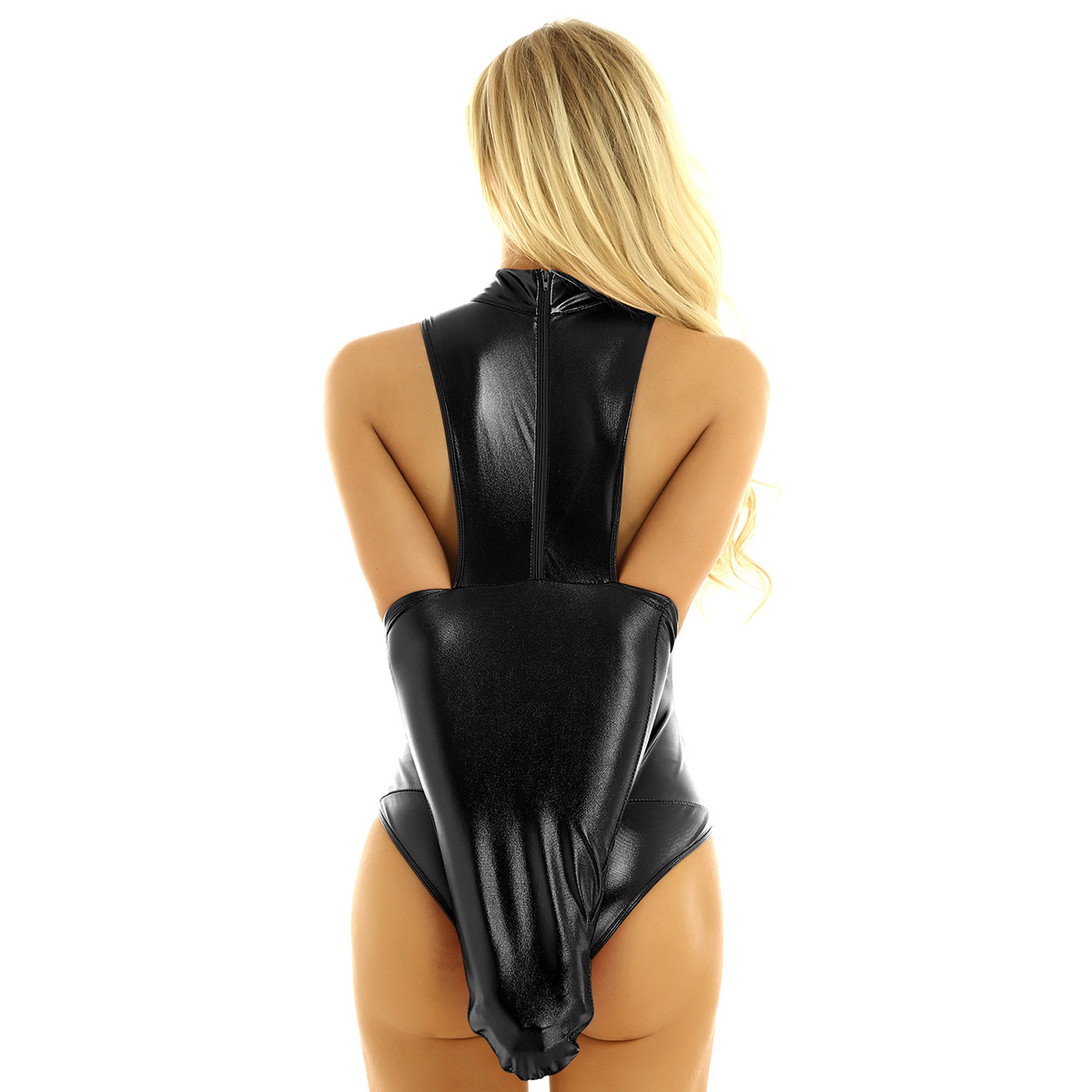 US Women/'s Shiny Metallic Bodysuit Lingerie Mock Neck Armbinder Glove Nightwear