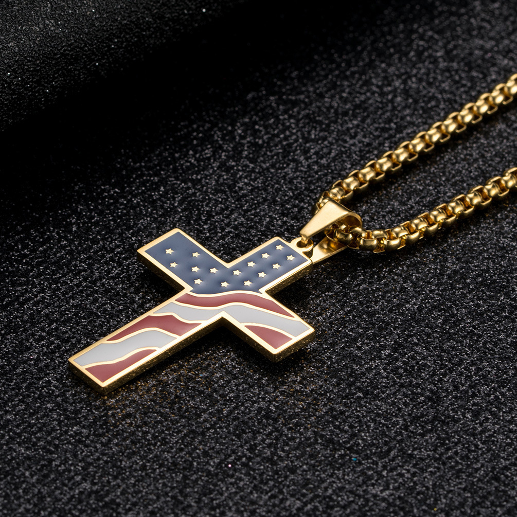 simple stainless steel Cross men pendant charms American flag