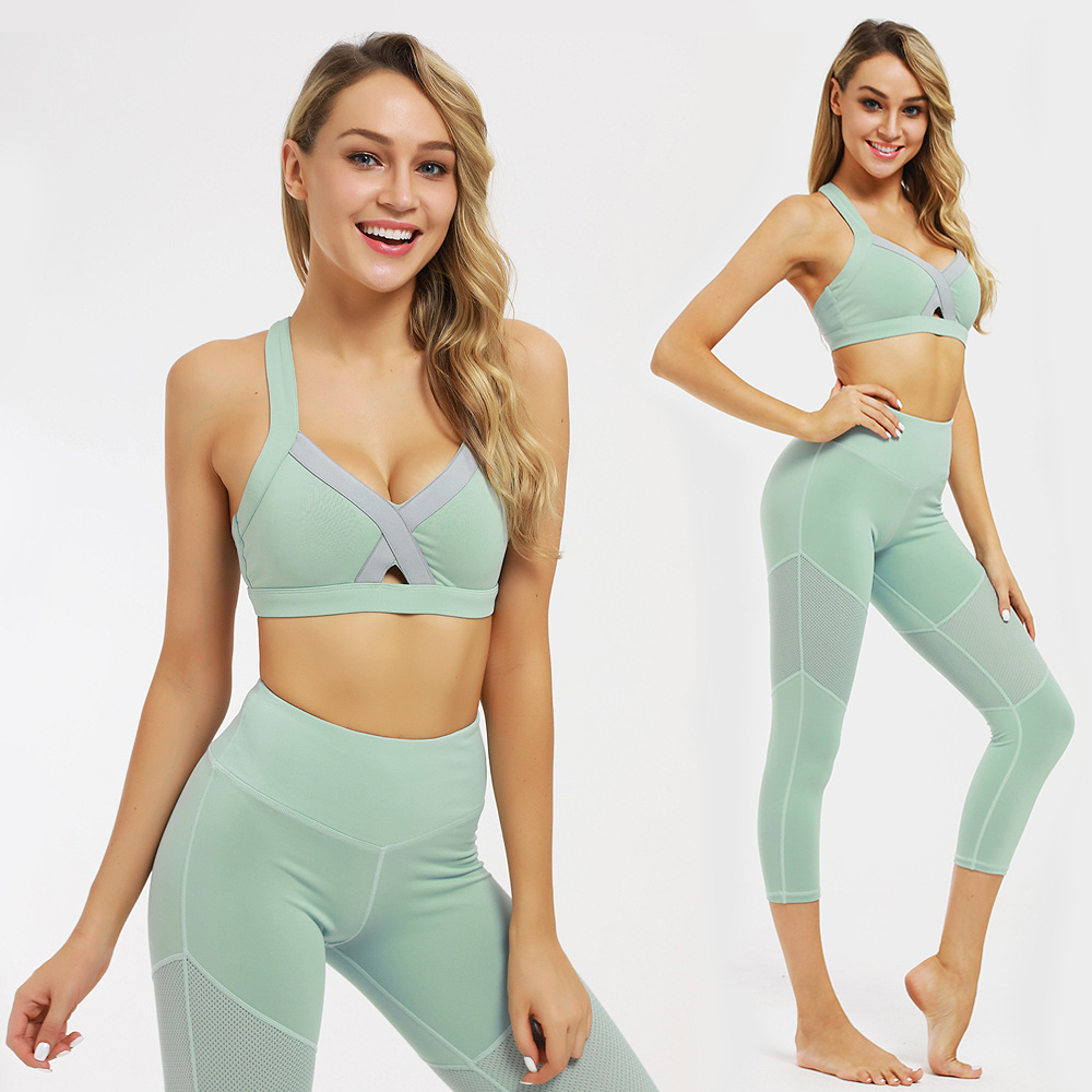 US $17.59 45% OFF|JYVIN 2PCS Seamless Gym Set Women Yoga Set Sportswear Sports Bra+Leggings shorts Fitness Pants Gym Running Suit Exercise Clothi|Yoga