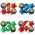 5 stücke Super Mario Luftballons 30 inch Anzahl Junge Mädchen Party Dekorationen Geburtstag Ballon Mario Luigi Bros Mylar Luftballons Dekoration